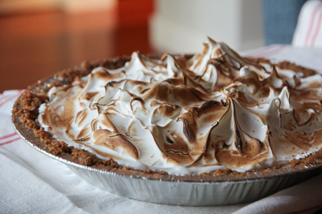 key lime pie with marshmallow meringue frosting