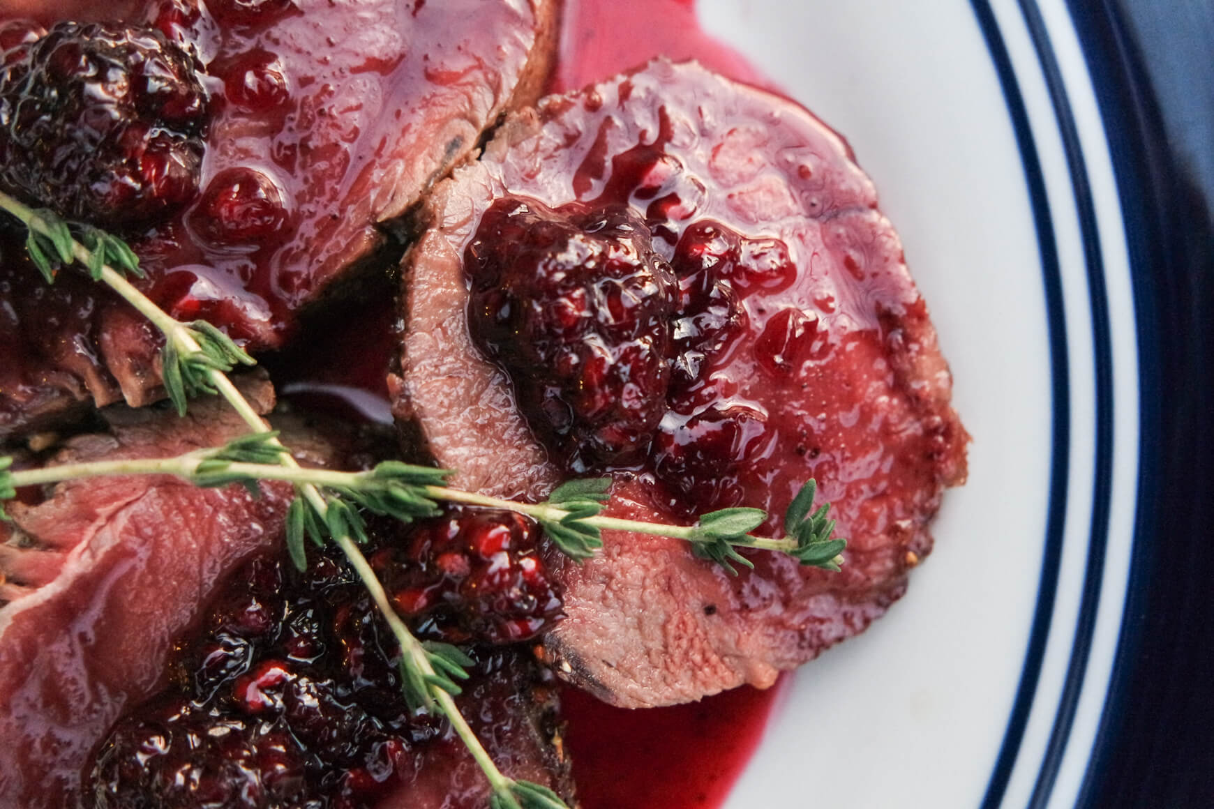 venison backstrap with blackberry sauce