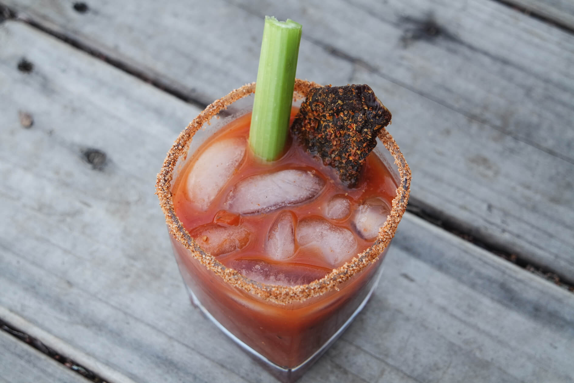 bloody mary with jerky garnish