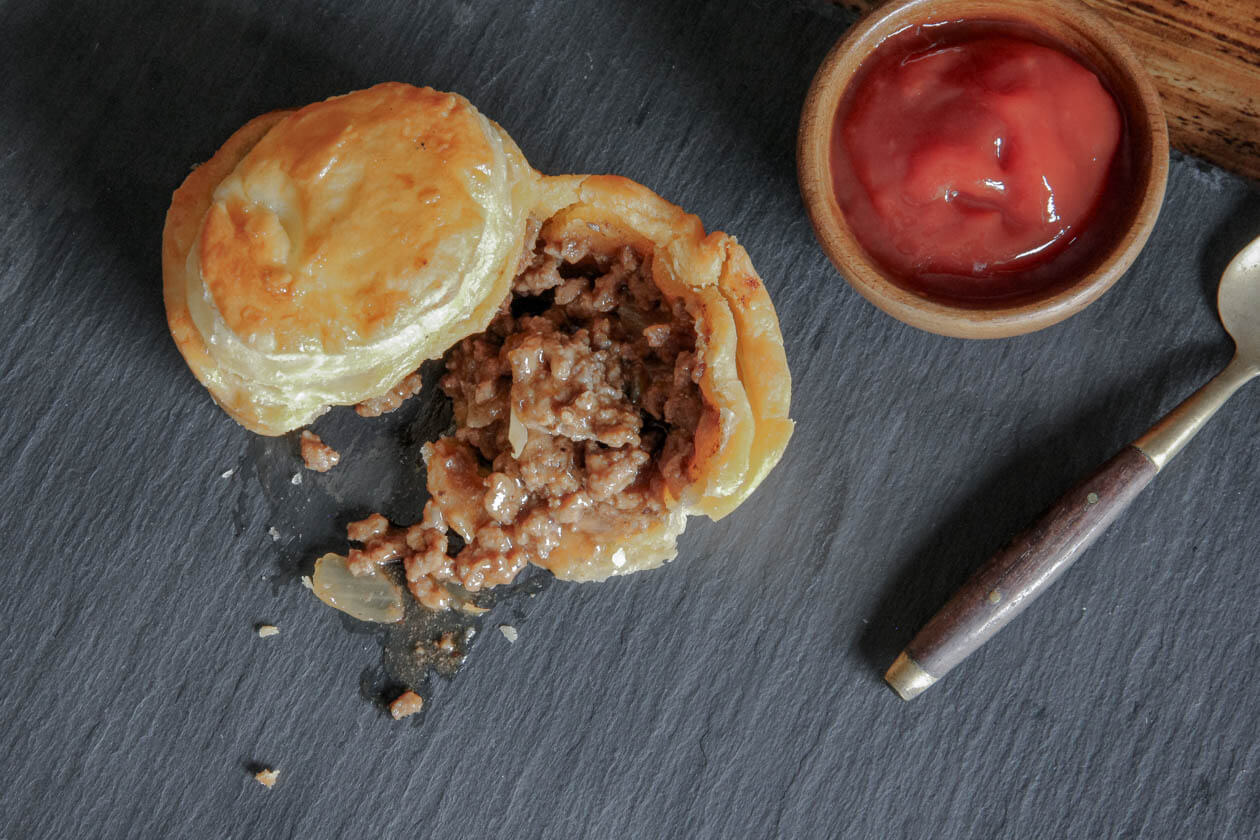 classic aussie beef mini meat pies with tomato sauce