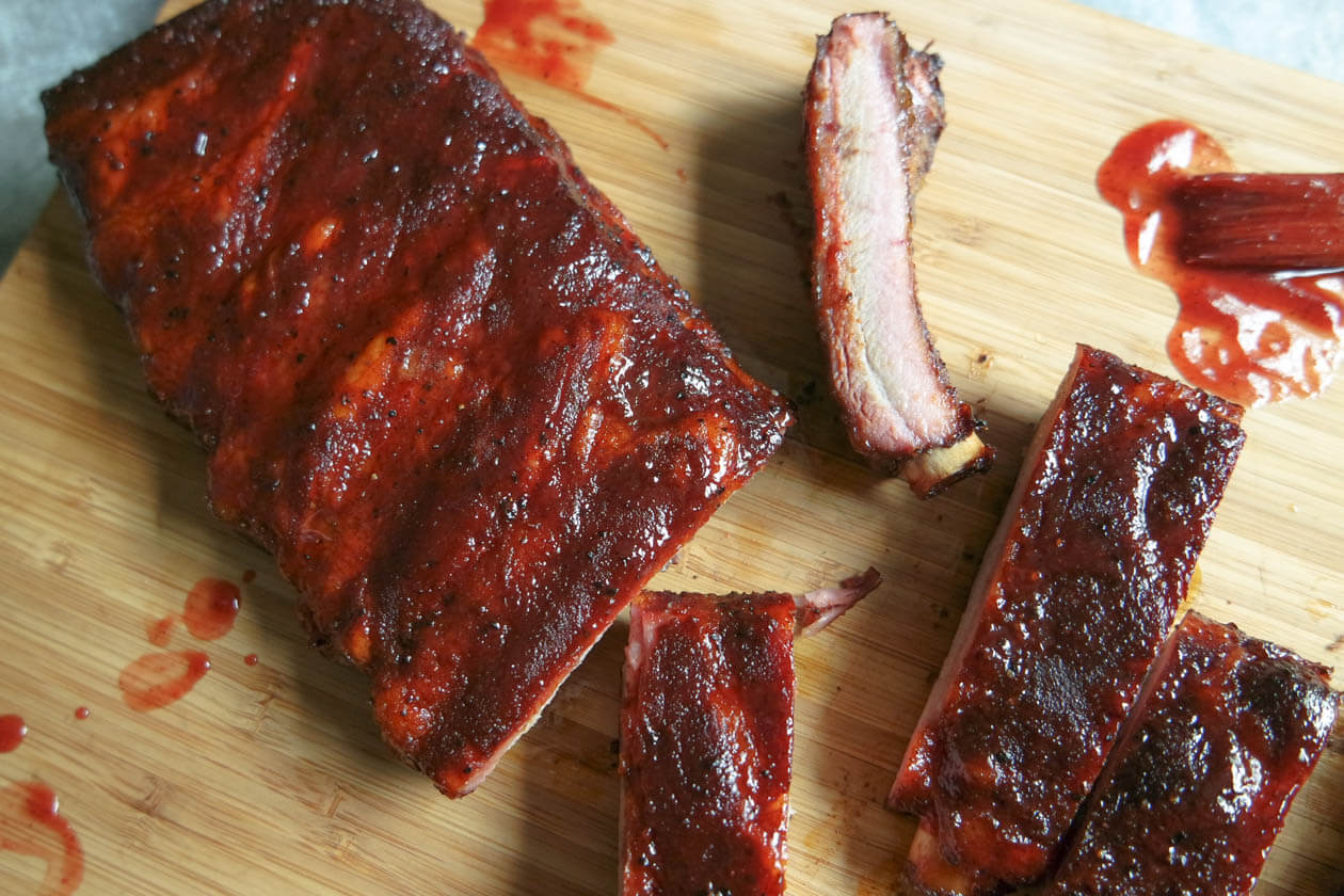 bbq pork ribs from the smoker