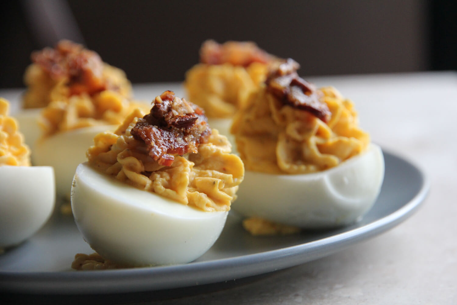 Devilled eggs made with meat church bbq rub