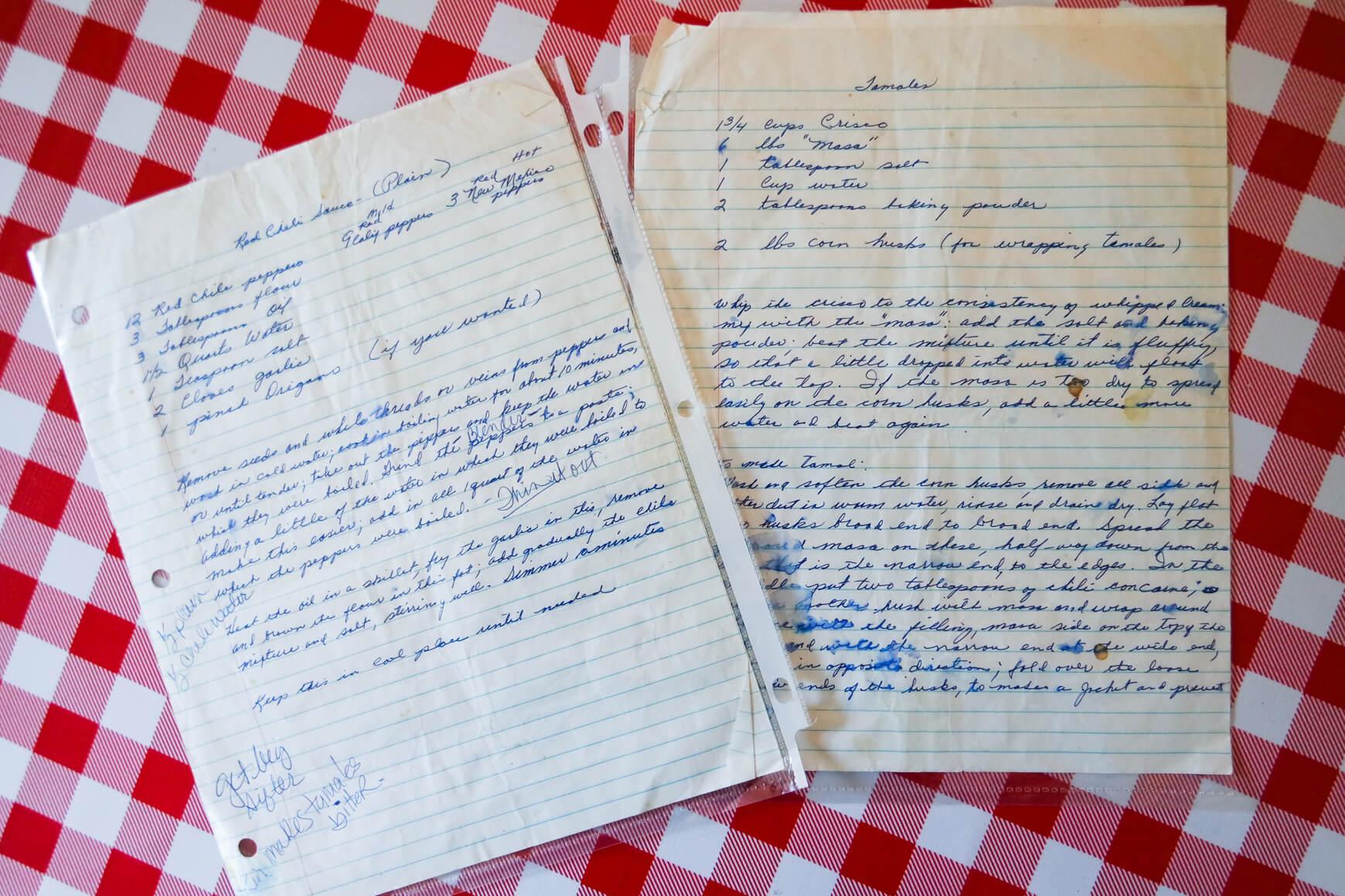 handwritten tamale recipe