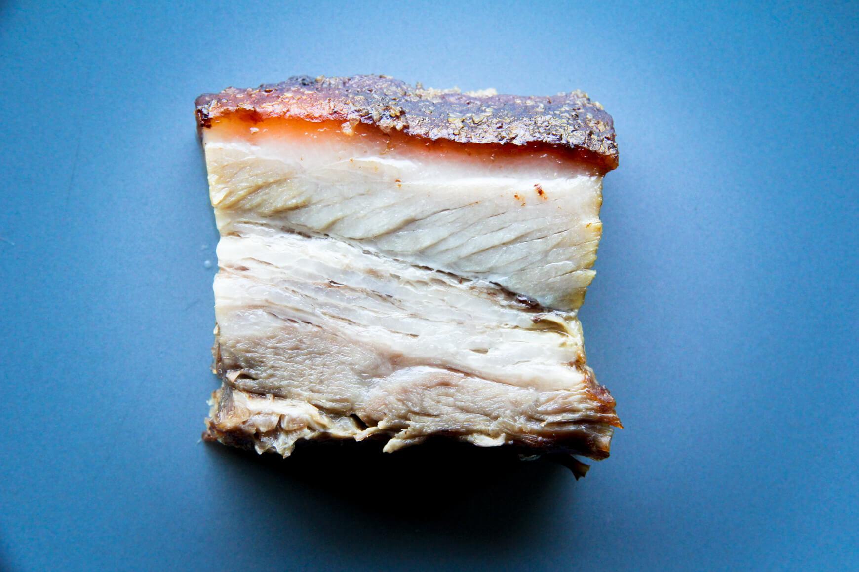 perfect square of crispy pork belly