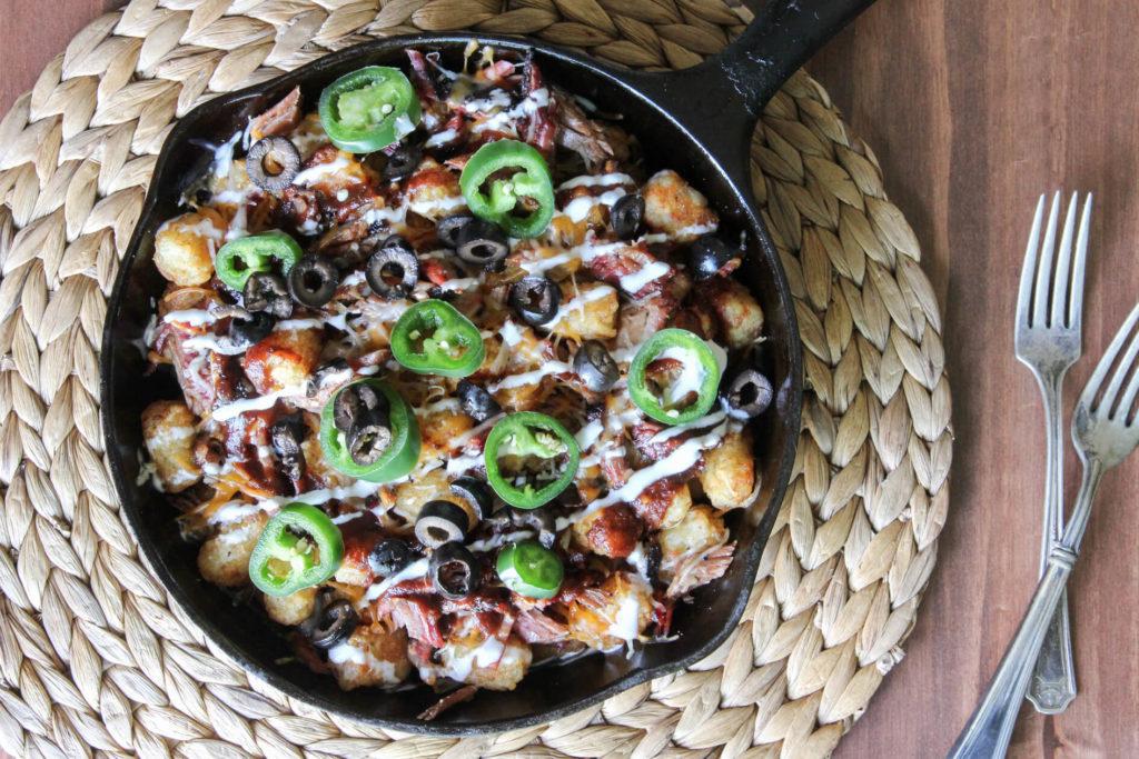 BBQ brisket tater tot nachos