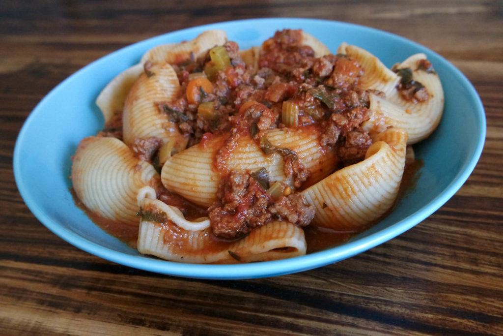 venison bolognese recipe in bowl