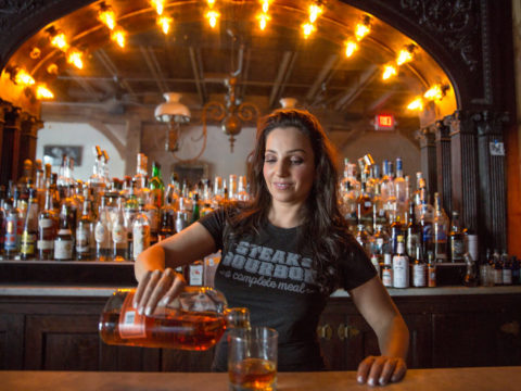 steak & bourbon, a complete meal at Freedmens bar in Austin