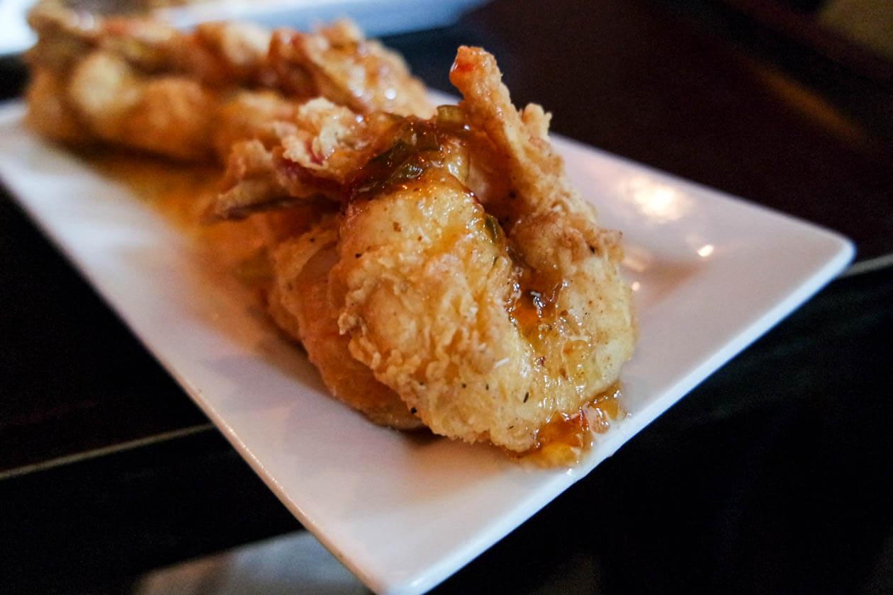 Fried Gulf shrimp with pepper jelly glaze