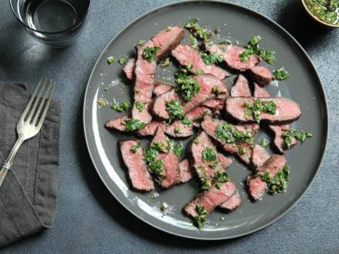 medium rare flat iron wagyu steak with salsa verde recipe