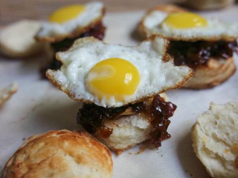 mini fried quail eggs