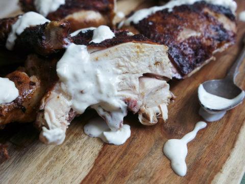 grilled chicken with smoked garlic white sauce