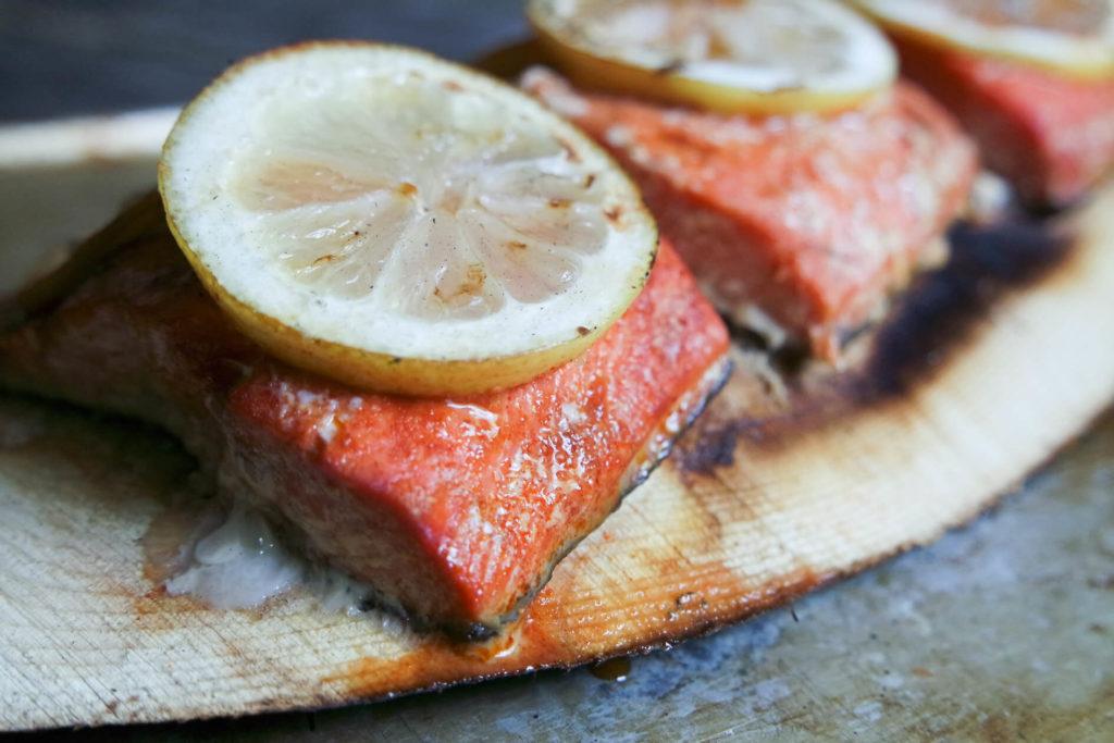 grilled cedar planked salmon