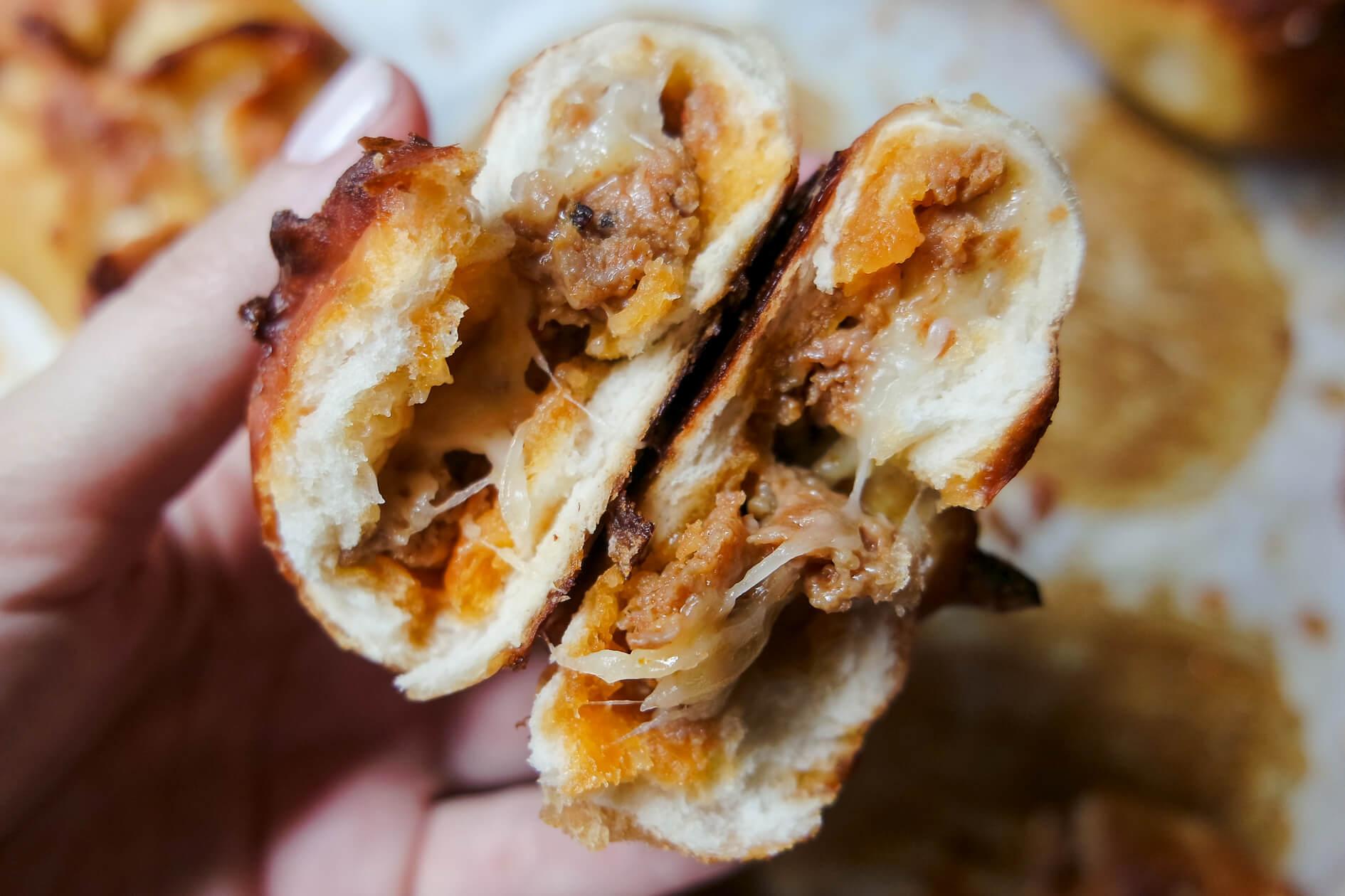 chorizo stuffed pretzel