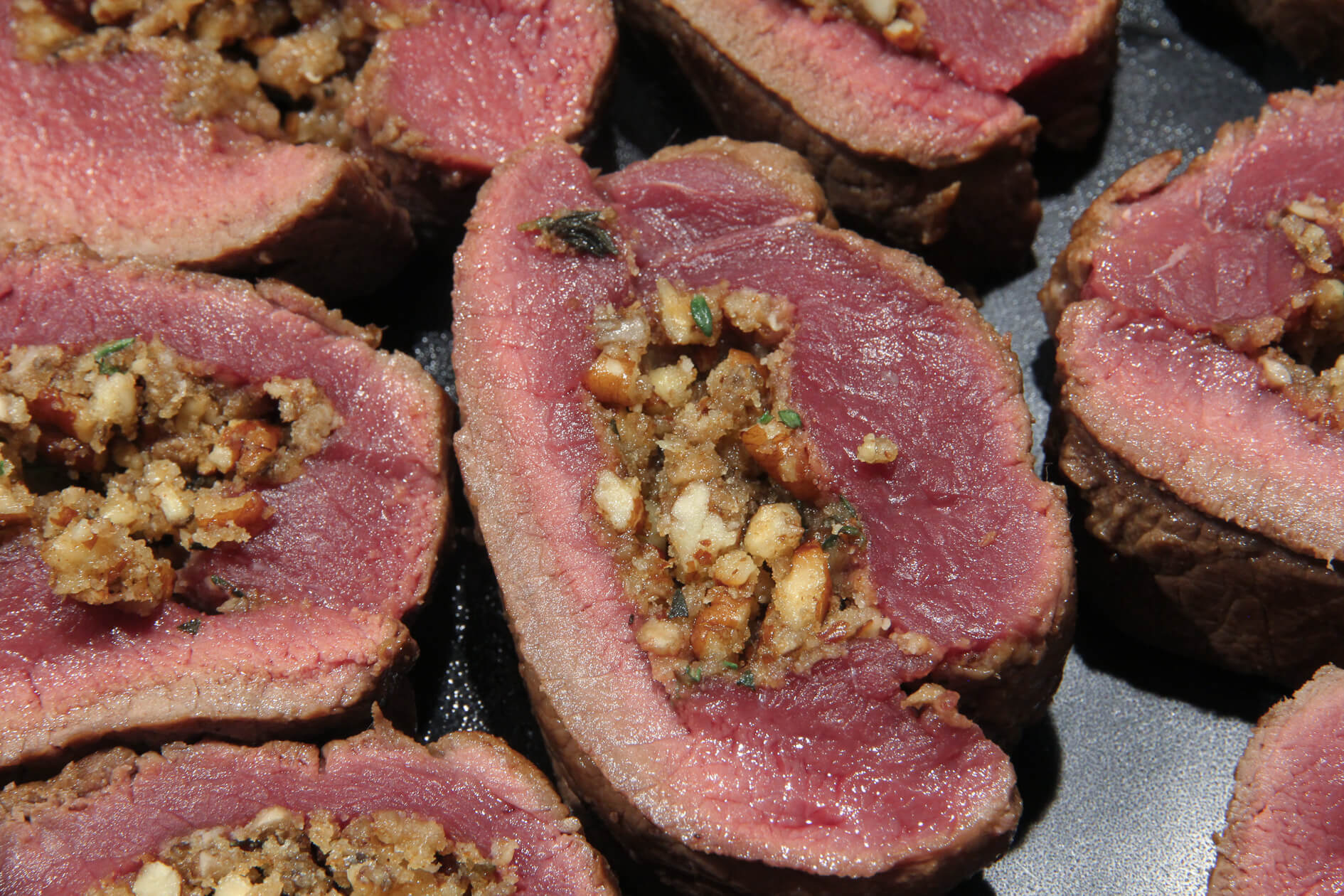 venison stuffed with sage, walnut and mushroom