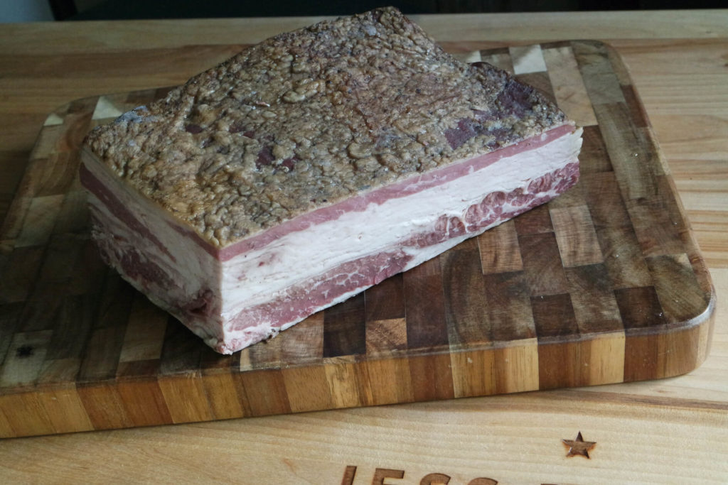 beef bacon ready to slice