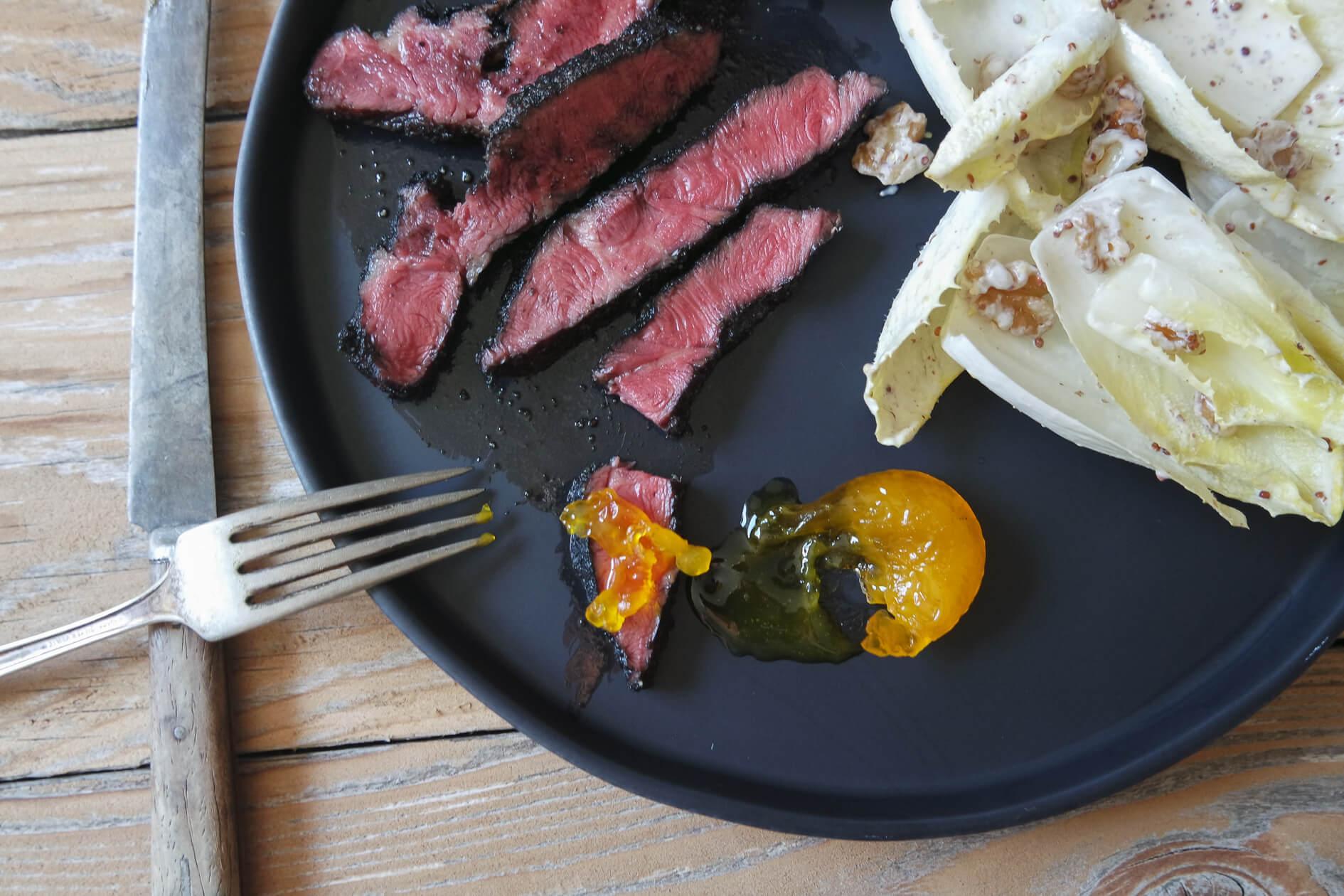 steak and cured egg yolk