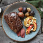 steak with peaches and blue cheese