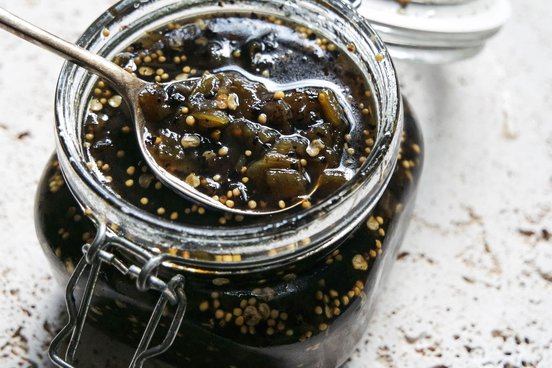 hatch green chile jam in jar