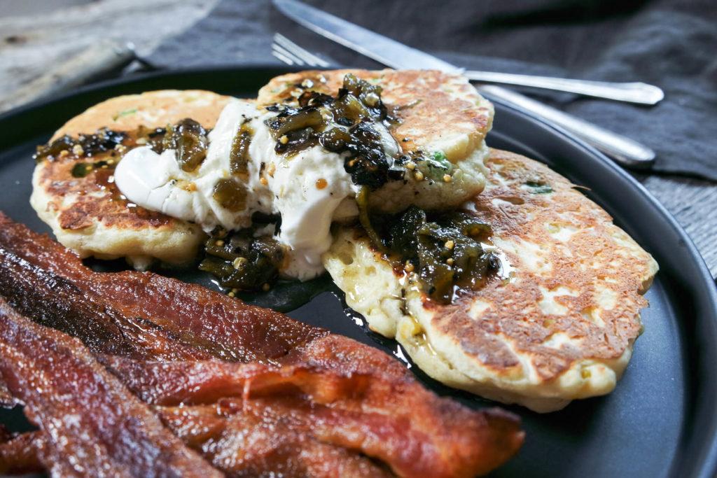 Savory Cheddar & Corn Pancakes with Chile Jam
