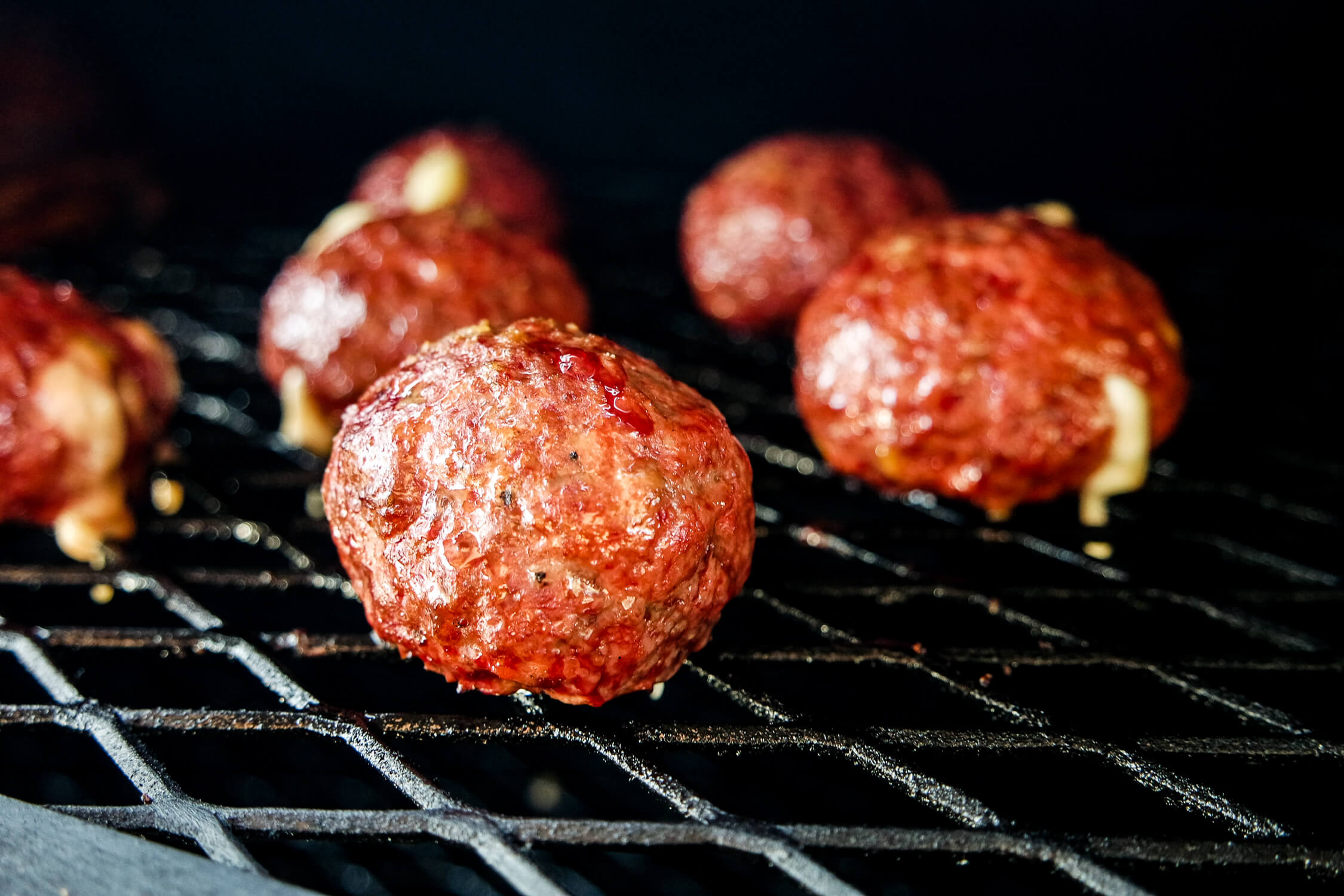 smoked cheese stuffed meatballs