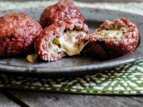 queso fundido stuffed meatballs