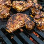 wood grilled jamaican jerk chicken thighs