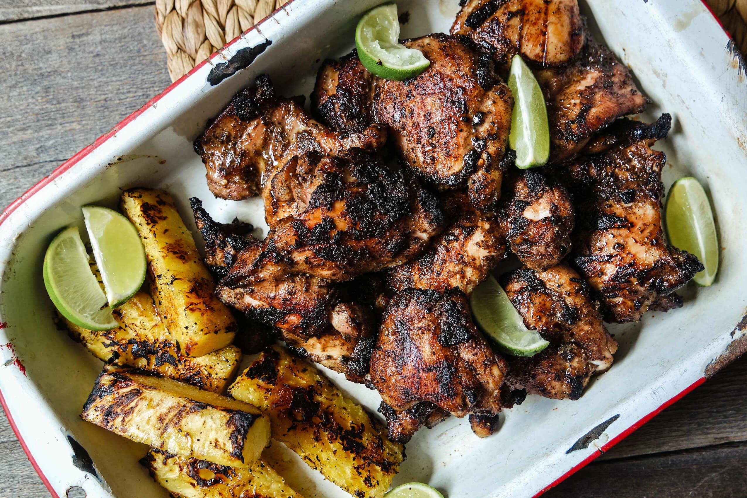 Fragrant Wood Grilled Jerk Chicken Thighs Jess Pryles