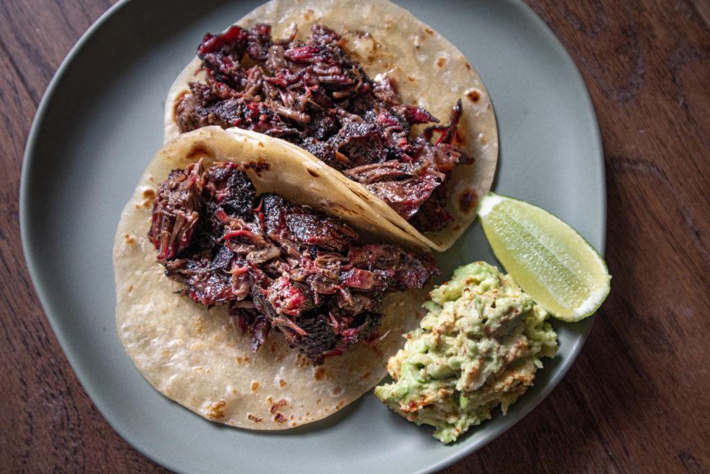 recipe for using smoked beef cheek to make barbacoa tacos in caramello tortillas