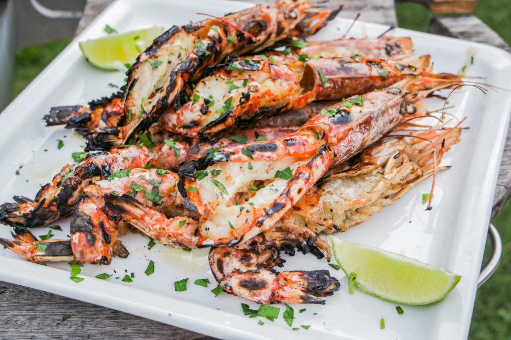 grilled shrimp on the barbie