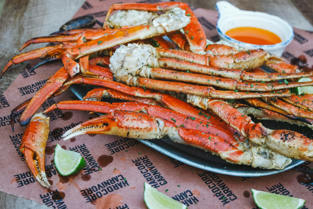 grilled crab leg clusters with umami butter