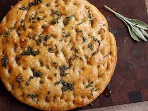 grilled focaccia with sage butter