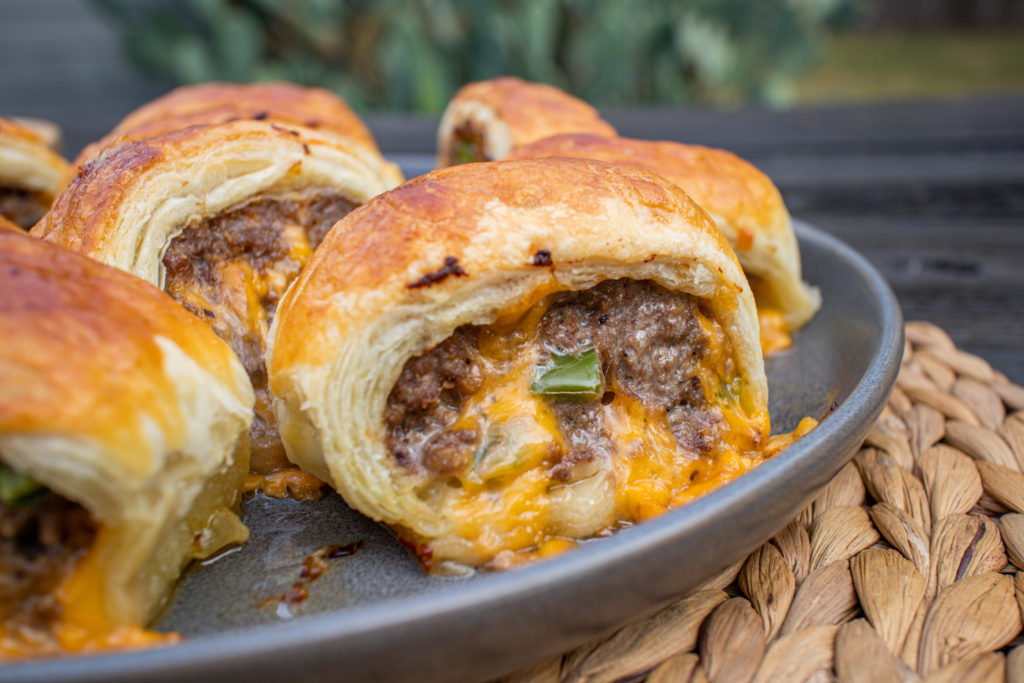 beef, jalapeno and cheddar sausage rolls