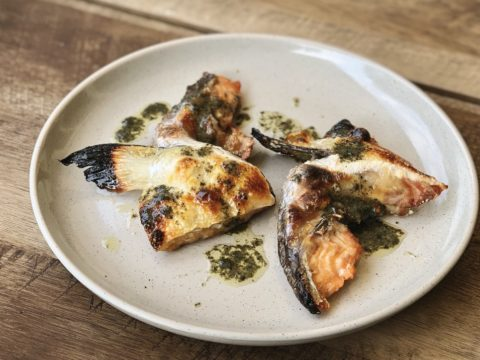 broiled salmon collars with nori butter