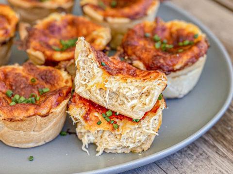 mini hot crab dip bites in pie crusts