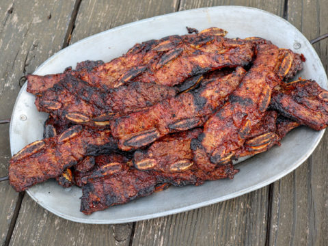 grilled flanken cut beef ribs or costillas with chipotle glaze
